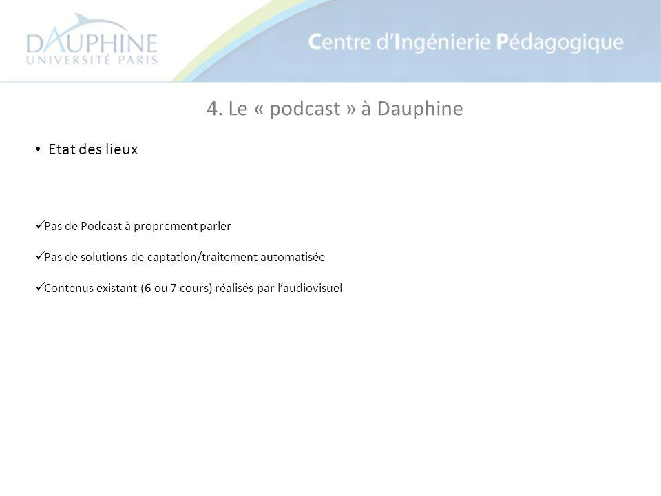 4. Le « podcast » à Dauphine Etat des lieux Pas de Podcast à proprement parler Pas de solutions de captation/traitement automatisée Contenus existant