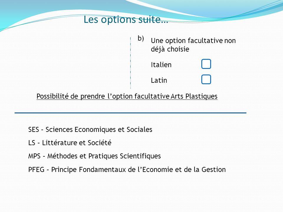Les options suite… b) Une option facultative non déjà choisie Italien Latin Possibilité de prendre loption facultative Arts Plastiques PFEG – Principe