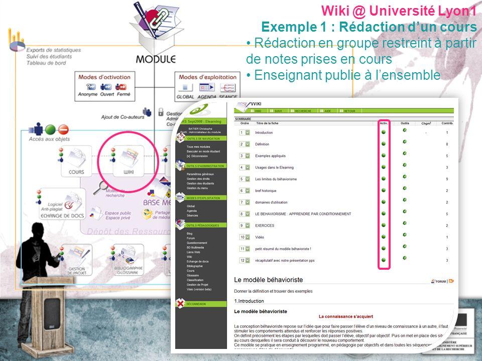 Wiki @ Université Lyon1 Exemple 1 : Rédaction dun cours Rédaction en groupe restreint à partir de notes prises en cours Enseignant publie à lensemble