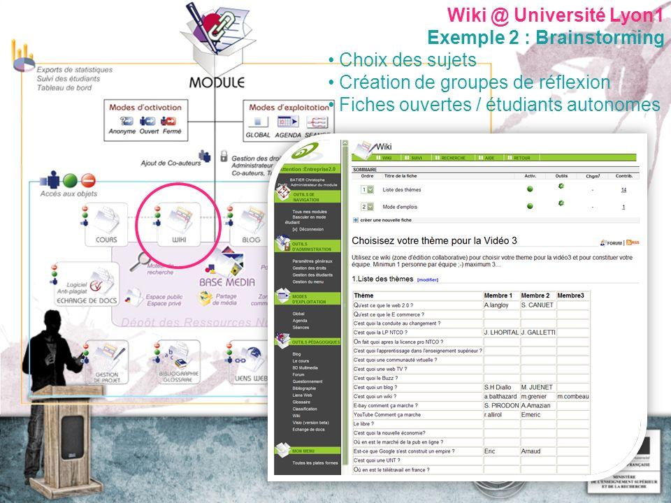 Wiki @ Université Lyon1 Exemple 2 : Brainstorming Choix des sujets Création de groupes de réflexion Fiches ouvertes / étudiants autonomes