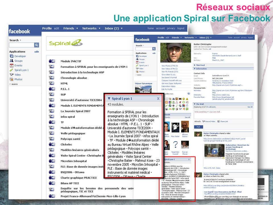 Réseaux sociaux Une application Spiral sur Facebook