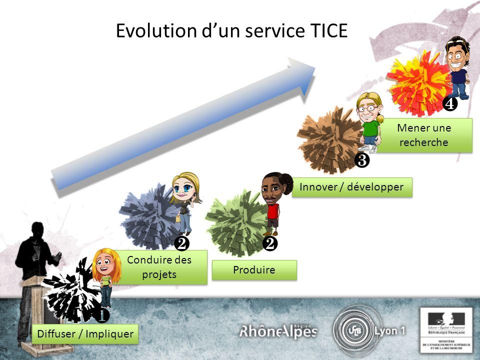Evolution dun service TICE Diffuser / Impliquer Conduire des projets Produire Innover / développer Mener une recherche