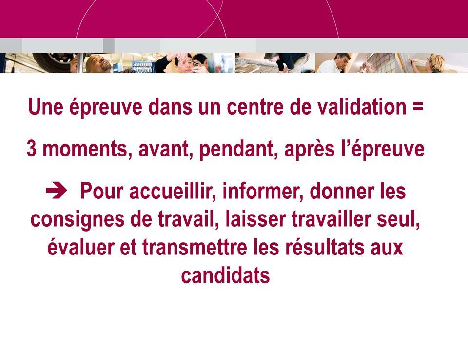 Une épreuve dans un centre de validation = 3 moments, avant, pendant, après lépreuve Pour accueillir, informer, donner les consignes de travail, laiss