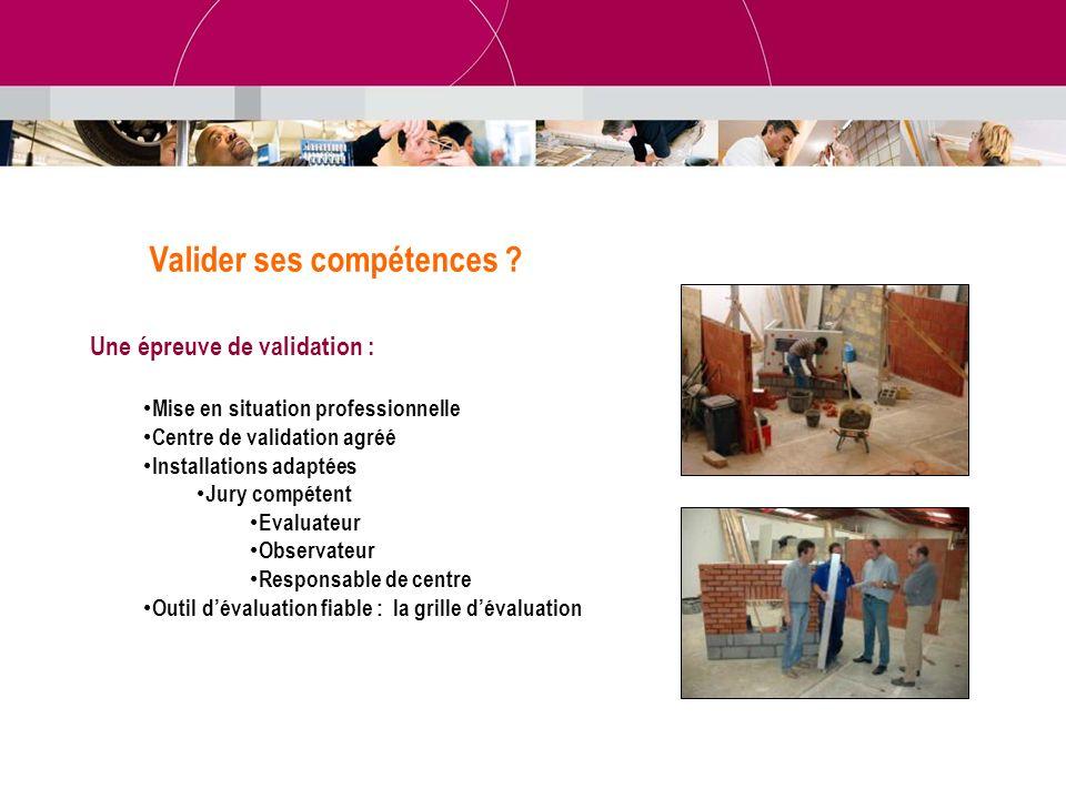 Une épreuve de validation : Mise en situation professionnelle Centre de validation agréé Installations adaptées Jury compétent Evaluateur Observateur