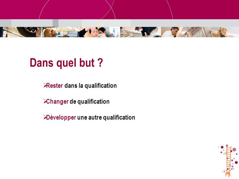 Rester dans la qualification Changer de qualification Développer une autre qualification Dans quel but ?