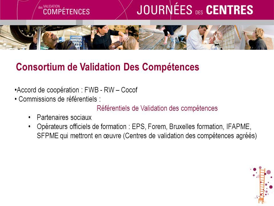 Consortium de Validation Des Compétences Accord de coopération : FWB - RW – Cocof Commissions de référentiels : Référentiels de Validation des compéte
