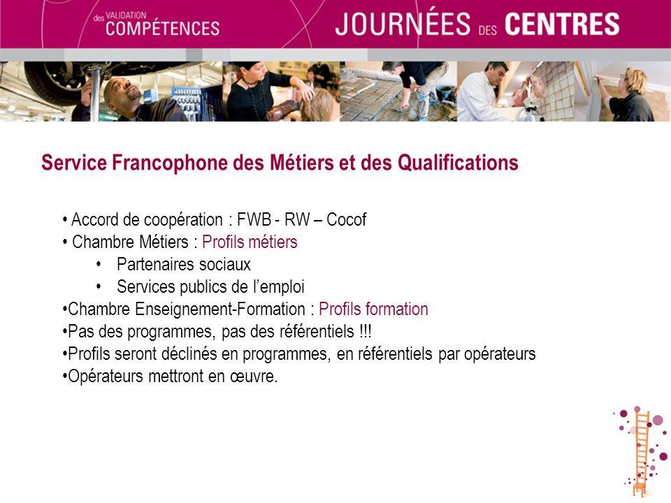 Service Francophone des Métiers et des Qualifications Accord de coopération : FWB - RW – Cocof Chambre Métiers : Profils métiers Partenaires sociaux S