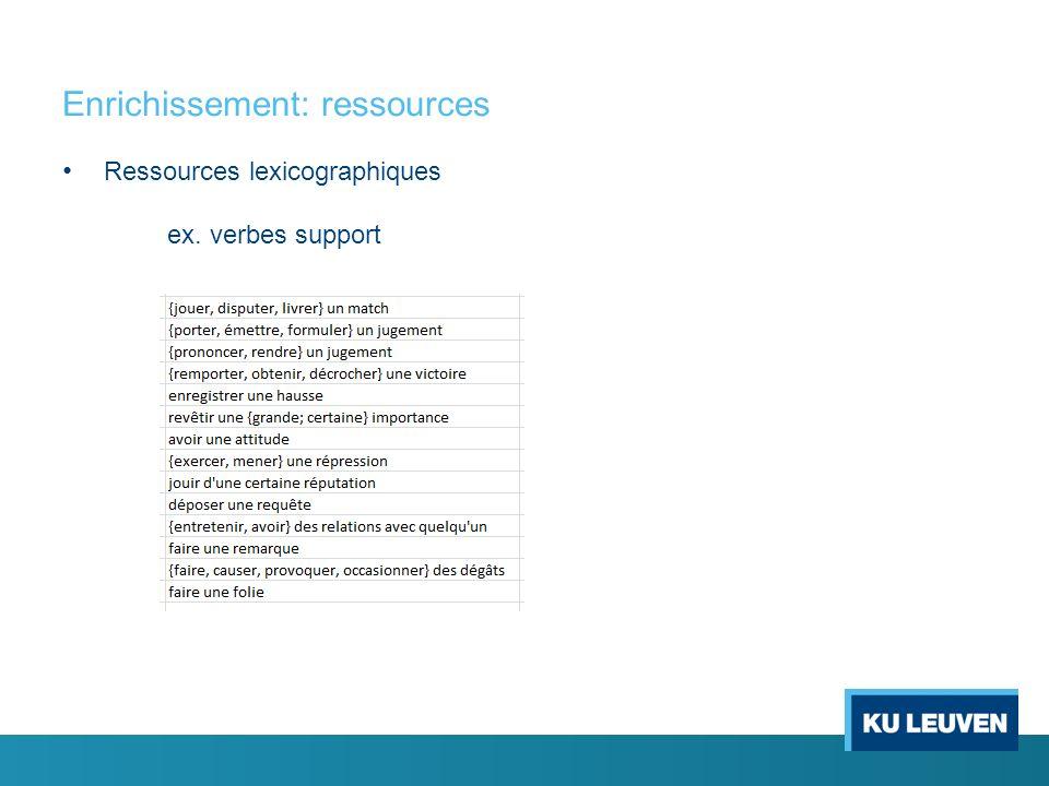 Enrichissement: ressources Ressources lexicographiques ex. verbes support