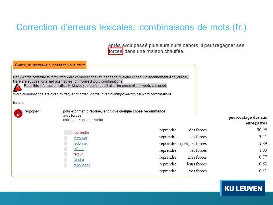 Correction derreurs lexicales: combinaisons de mots (fr.)