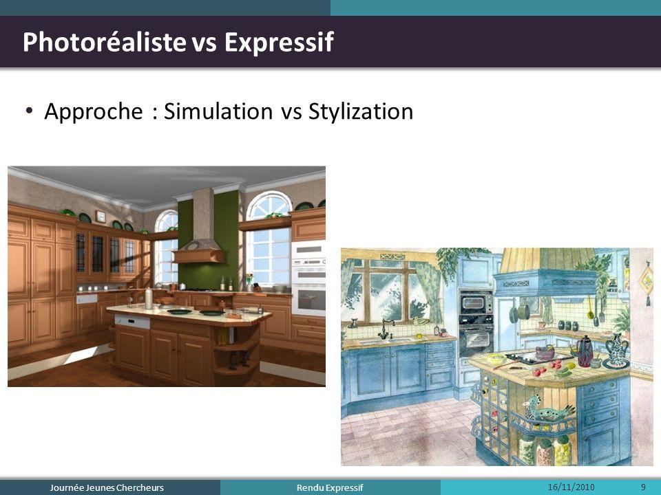 Rendu Expressif Photoréaliste vs Expressif Approche : Simulation vs Stylization Journée Jeunes Chercheurs 16/11/20109