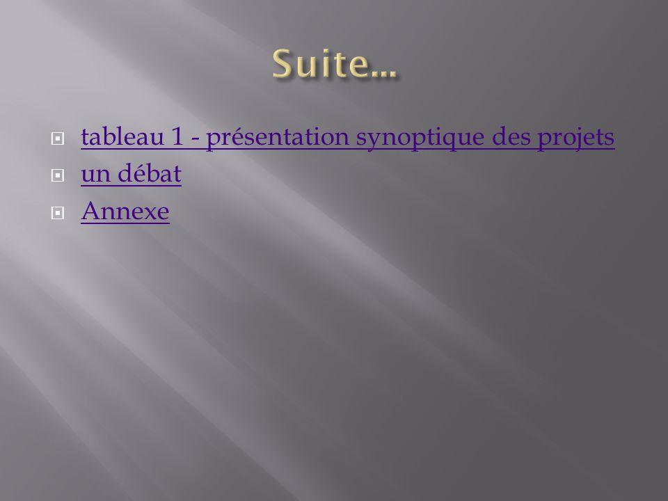 tableau 1 - présentation synoptique des projets un débat Annexe