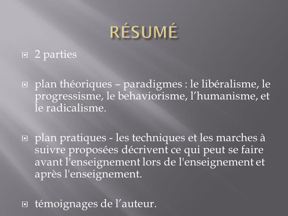 2 parties plan théoriques – paradigmes : le libéralisme, le progressisme, le behaviorisme, lhumanisme, et le radicalisme.