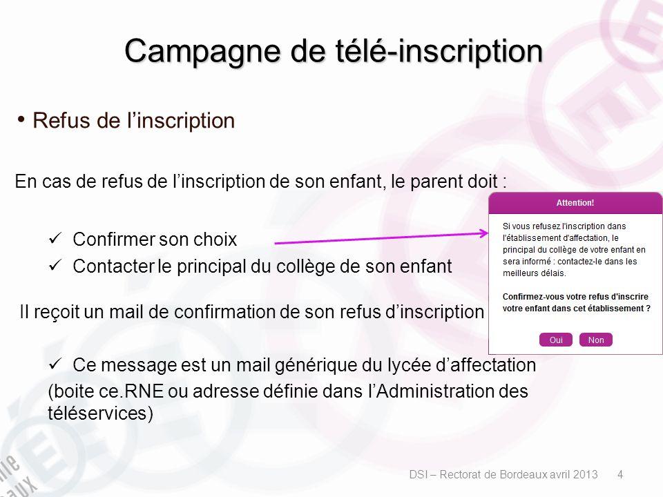 Campagne de télé-inscription Refus de linscription En cas de refus de linscription de son enfant, le parent doit : Confirmer son choix Contacter le pr