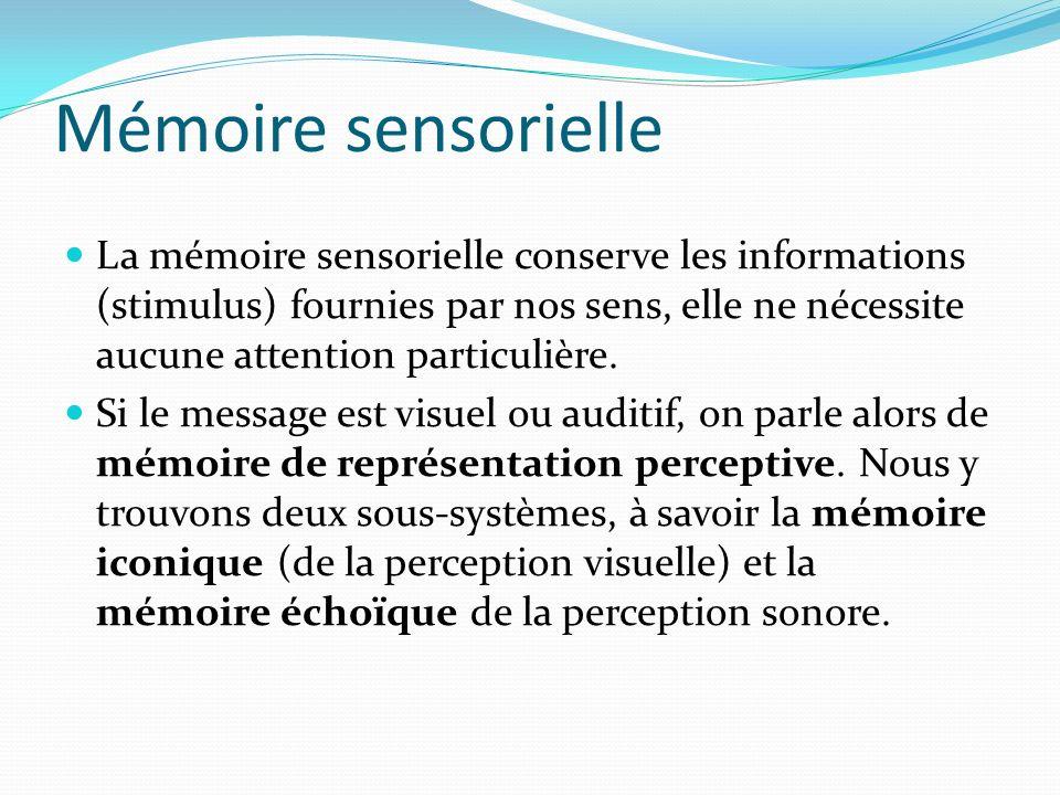 Mémoire sensorielle La mémoire sensorielle conserve les informations (stimulus) fournies par nos sens, elle ne nécessite aucune attention particulière