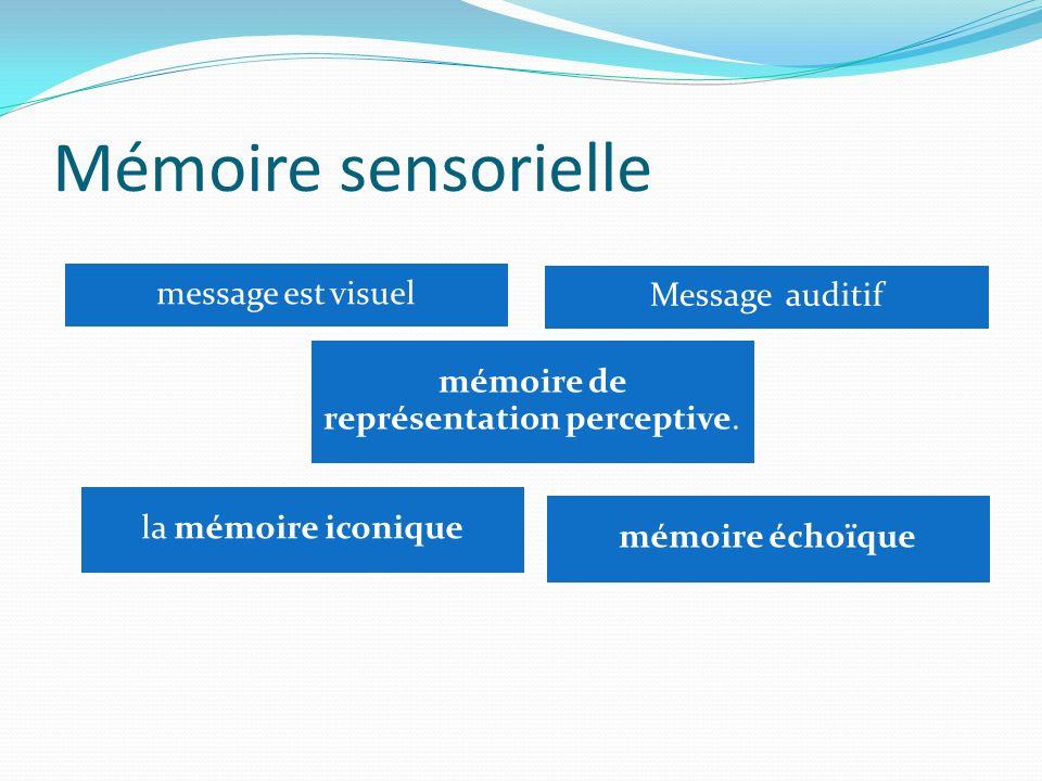 Mémoire sensorielle message est visuel Message auditif mémoire de représentation perceptive. mémoire échoïque la mémoire iconique