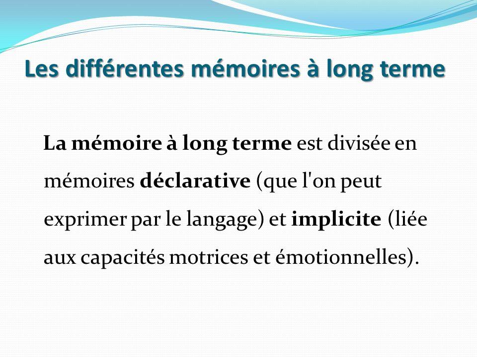 Les différentes mémoires à long terme La mémoire à long terme est divisée en mémoires déclarative (que l'on peut exprimer par le langage) et implicite