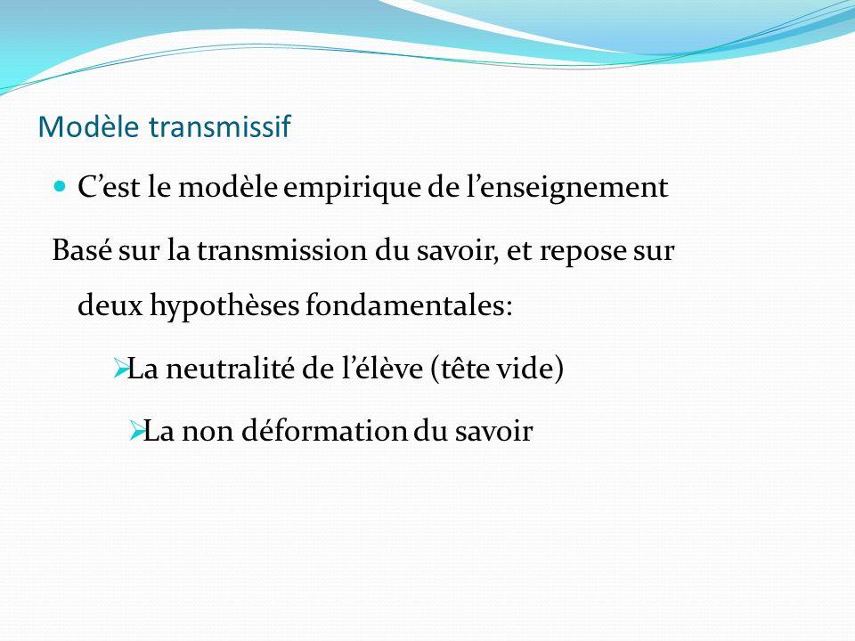 Modèle transmissif Cest le modèle empirique de lenseignement Basé sur la transmission du savoir, et repose sur deux hypothèses fondamentales: La neutr