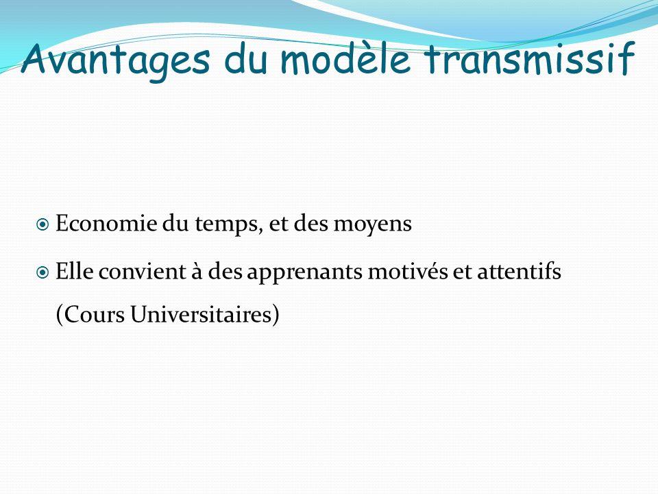 Avantages du modèle transmissif Economie du temps, et des moyens Elle convient à des apprenants motivés et attentifs (Cours Universitaires)