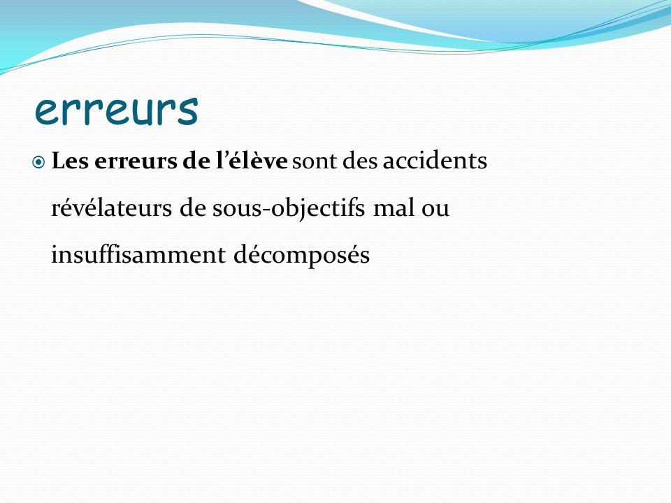 erreurs Les erreurs de lélève sont des accidents révélateurs de sous-objectifs mal ou insuffisamment décomposés