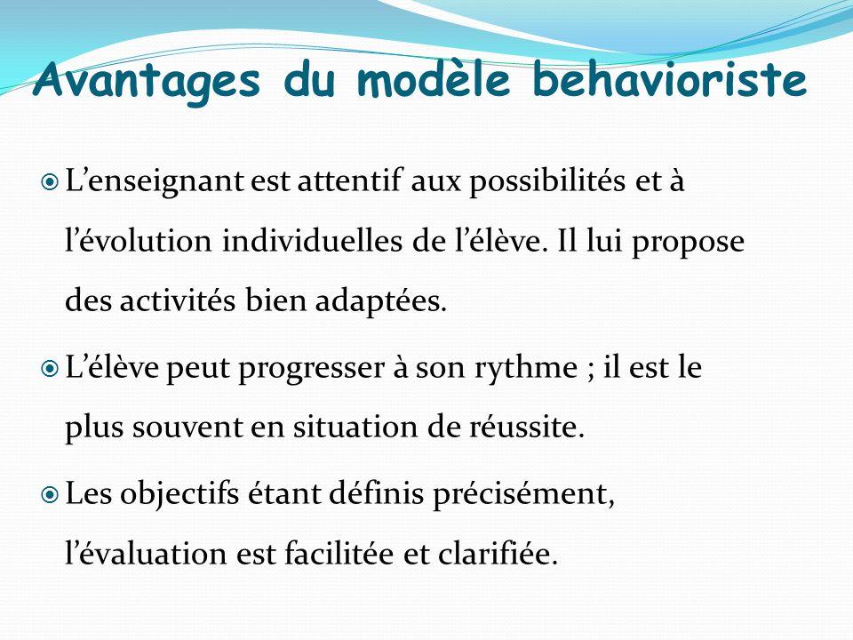 Avantages du modèle behavioriste Lenseignant est attentif aux possibilités et à lévolution individuelles de lélève. Il lui propose des activités bien