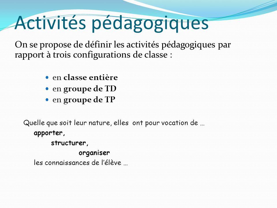 Activités pédagogiques On se propose de définir les activités pédagogiques par rapport à trois configurations de classe : en classe entière en groupe