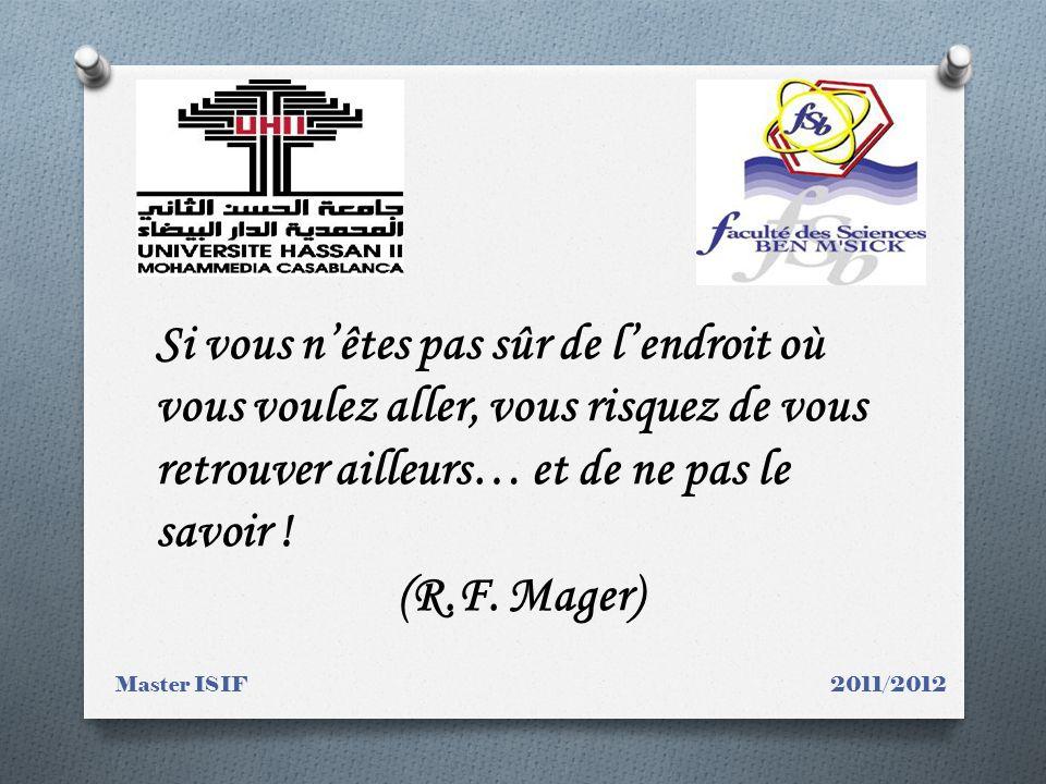 Master ISIF 2011/2012 Si vous nêtes pas sûr de lendroit où vous voulez aller, vous risquez de vous retrouver ailleurs… et de ne pas le savoir ! (R.F.