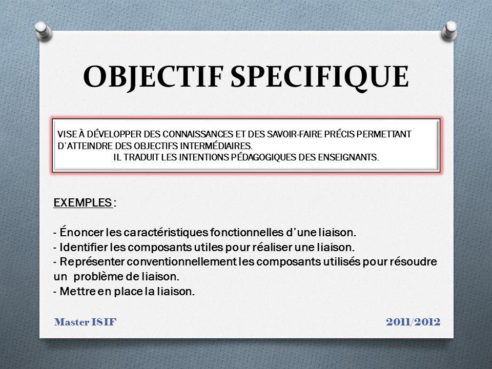 OBJECTIF SPECIFIQUE Master ISIF 2011/2012 VISE À DÉVELOPPER DES CONNAISSANCES ET DES SAVOIR-FAIRE PRÉCIS PERMETTANT DATTEINDRE DES OBJECTIFS INTERMÉDIAIRES.