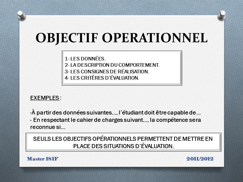 OBJECTIF OPERATIONNEL Master ISIF 2011/2012 1- LES DONNÉES. 2- LA DESCRIPTION DU COMPORTEMENT. 3- LES CONSIGNES DE RÉALISATION. 4- LES CRITÈRES DÉVALU