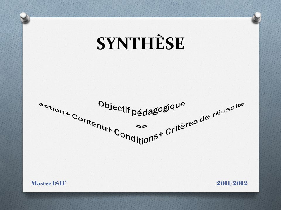 SYNTHÈSE Master ISIF 2011/2012
