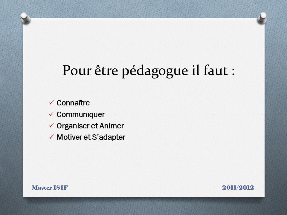 Pour être pédagogue il faut : Connaître Communiquer Organiser et Animer Motiver et Sadapter Master ISIF 2011/2012