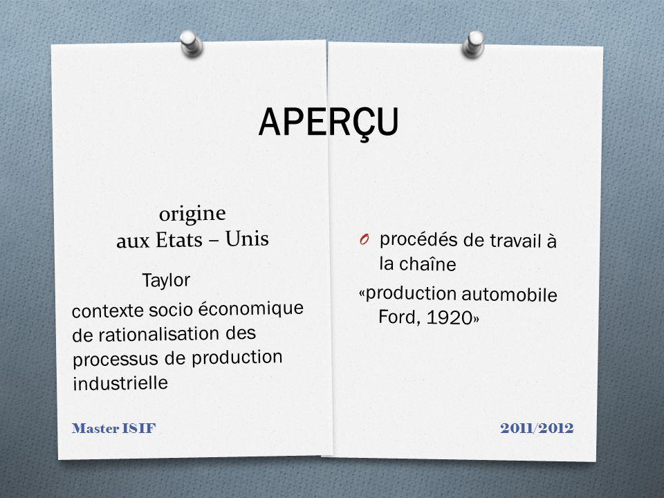 origine aux Etats – Unis O procédés de travail à la chaîne «production automobile Ford, 1920» Taylor contexte socio économique de rationalisation des