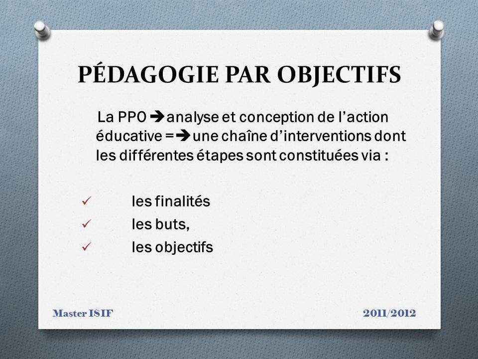 PÉDAGOGIE PAR OBJECTIFS La PPO analyse et conception de laction éducative = une chaîne dinterventions dont les différentes étapes sont constituées via : les finalités les buts, les objectifs Master ISIF 2011/2012