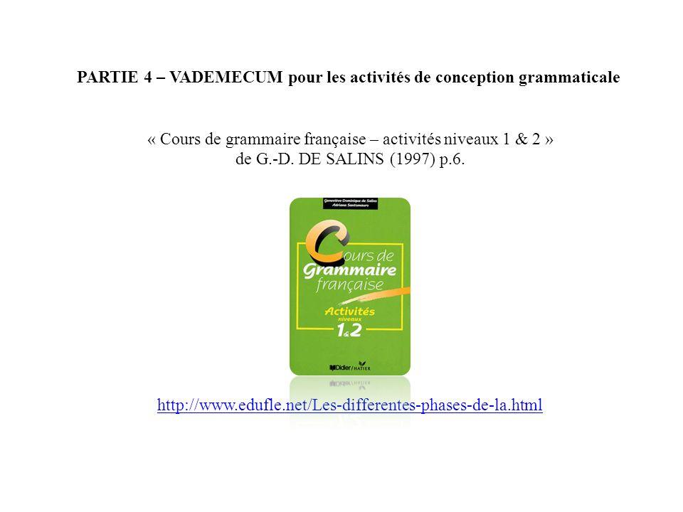 PARTIE 4 – VADEMECUM pour les activités de conception grammaticale « Cours de grammaire française – activités niveaux 1 & 2 » de G.-D. DE SALINS (1997