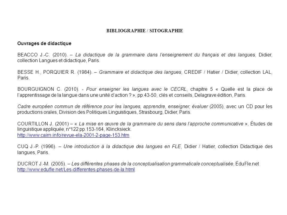 BIBLIOGRAPHIE / SITOGRAPHIE Ouvrages de didactique BEACCO J.-C. (2010). – La didactique de la grammaire dans lenseignement du français et des langues,
