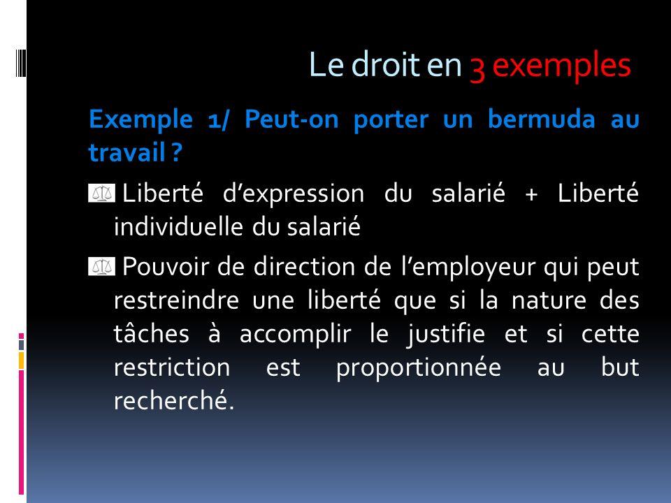 Le droit en 3 exemples Exemple 1/ Peut-on porter un bermuda au travail ? Liberté dexpression du salarié + Liberté individuelle du salarié Pouvoir de d