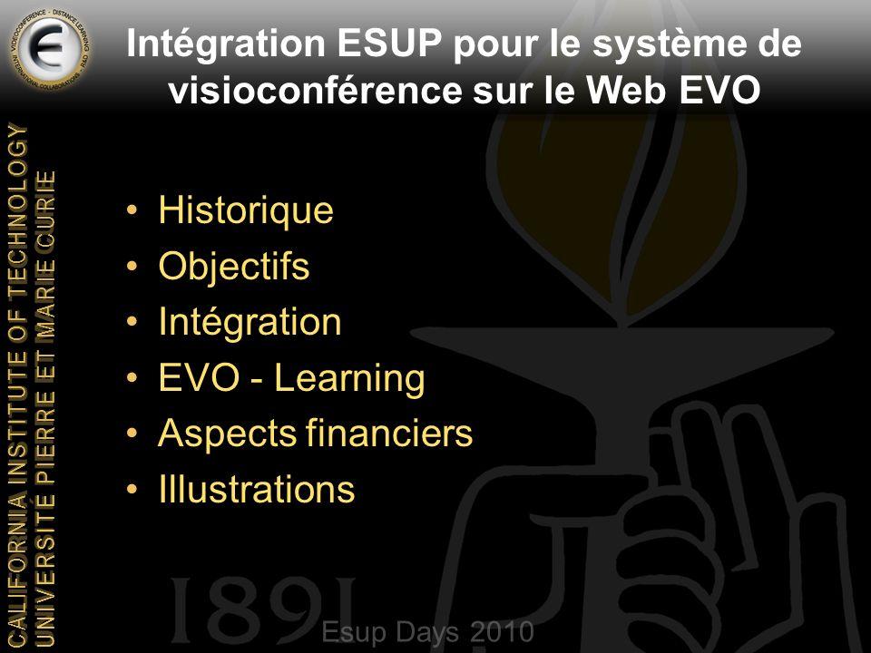 Esup Days 2010 CALIFORNIA INSTITUTE OF TECHNOLOGY UNIVERSITE PIERRE ET MARIE CURIE Intégration ESUP pour le système de visioconférence sur le Web EVO