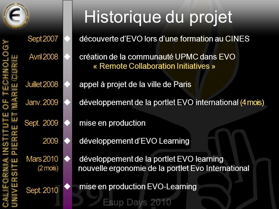 Esup Days 2010 CALIFORNIA INSTITUTE OF TECHNOLOGY UNIVERSITE PIERRE ET MARIE CURIE Historique du projet découverte dEVO lors dune formation au CINES création de la communauté UPMC dans EVO « Remote Collaboration Initiatives » appel à projet de la ville de Paris développement de la portlet EVO international (4 mois) mise en production développement dEVO Learning développement de la portlet EVO learning nouvelle ergonomie de la portlet Evo International mise en production EVO-Learning Sept 2007 Avril 2008 Juillet 2008 Janv.