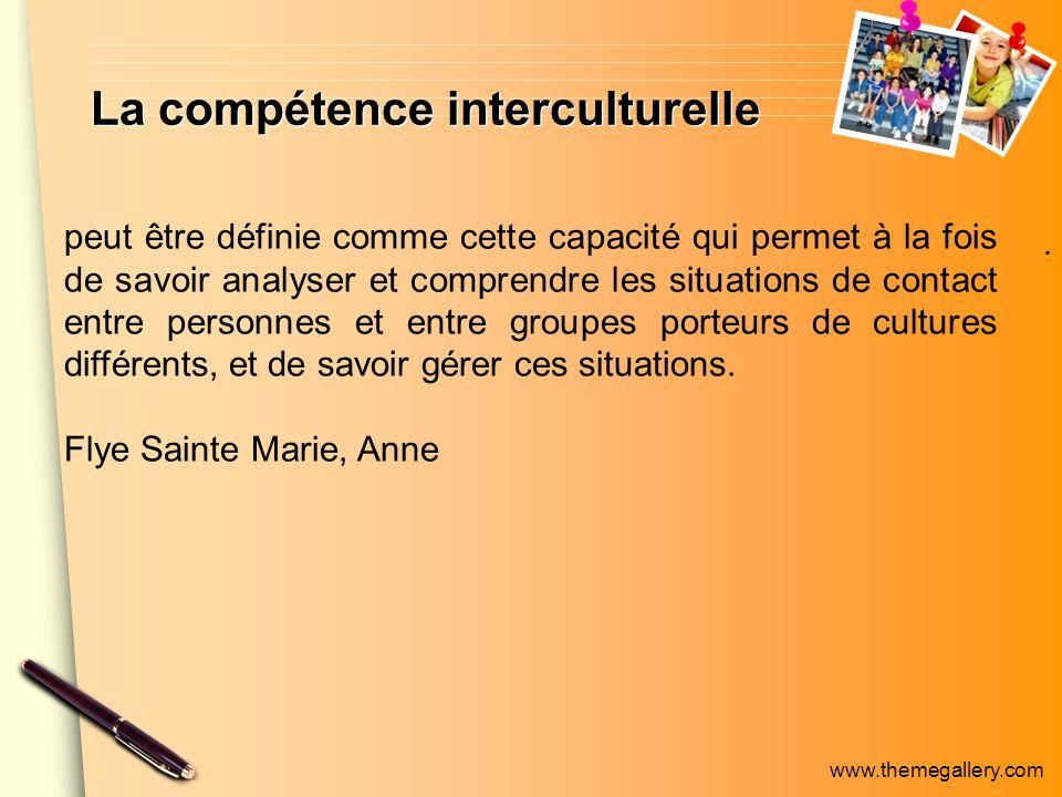 www.themegallery.com La compétence interculturelle. peut être définie comme cette capacité qui permet à la fois de savoir analyser et comprendre les s