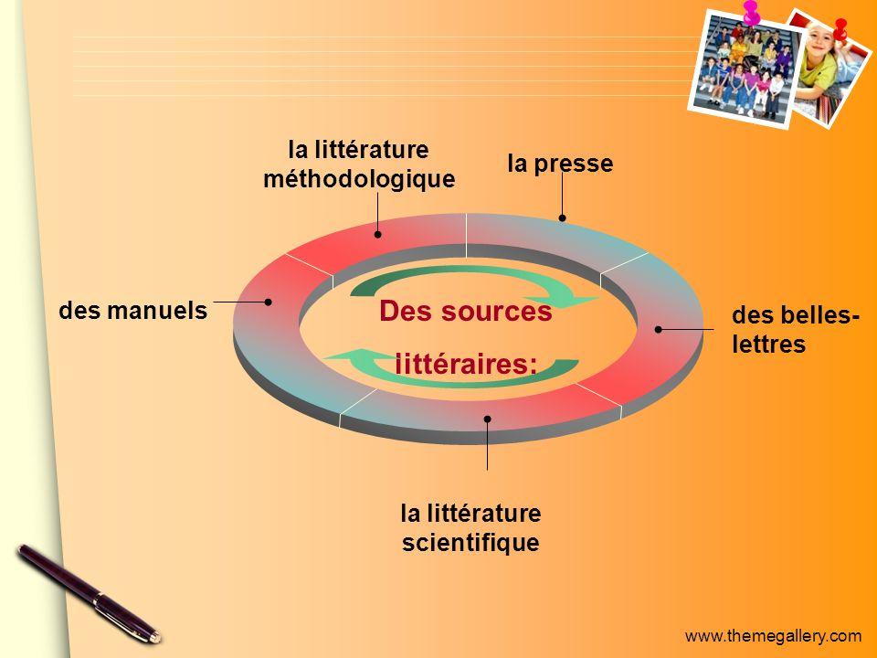 www.themegallery.com la littérature méthodologique la presse des belles- lettres la littérature scientifique des manuels Des sources littéraires: