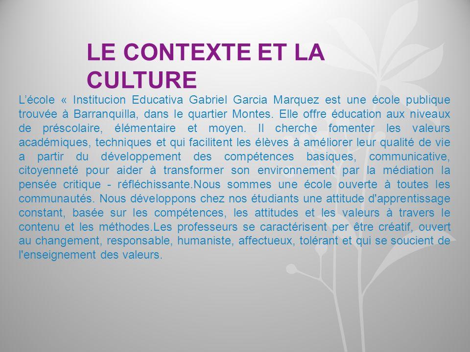 Lécole « Institucion Educativa Gabriel Garcia Marquez est une école publique trouvée à Barranquilla, dans le quartier Montes. Elle offre éducation aux