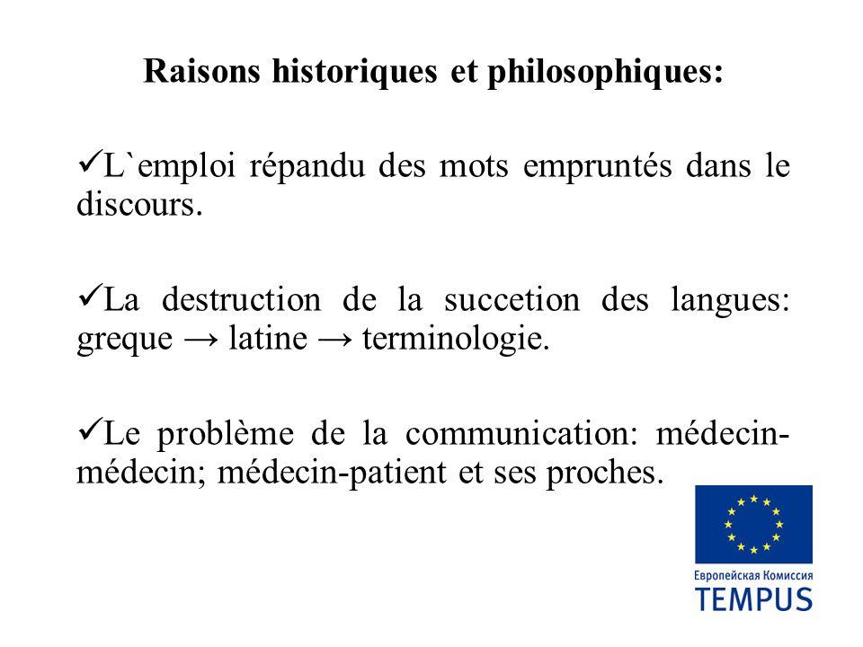 Raisons historiques et philosophiques: L`emploi répandu des mots empruntés dans le discours. La destruction de la succetion des langues: greque latine