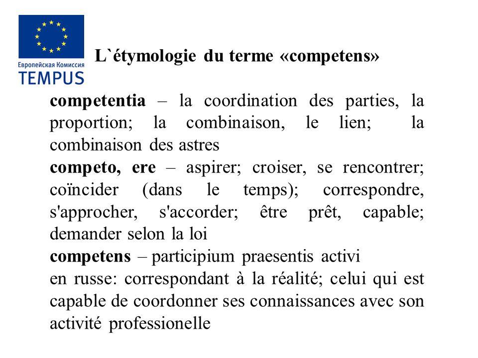 L`étymologie du terme «competens» сompetentia – la coordination des parties, la proportion; la combinaison, le lien; la combinaison des astres competo
