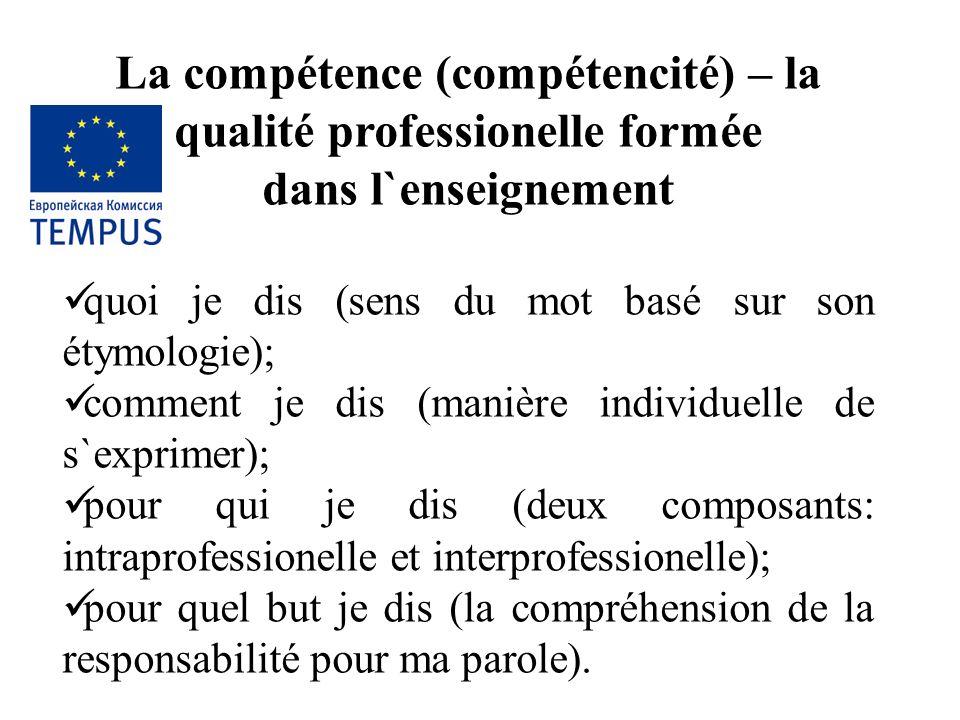 La compétence (compétencité) – la qualité professionelle formée dans l`enseignement quoi je dis (sens du mot basé sur son étymologie); comment je dis