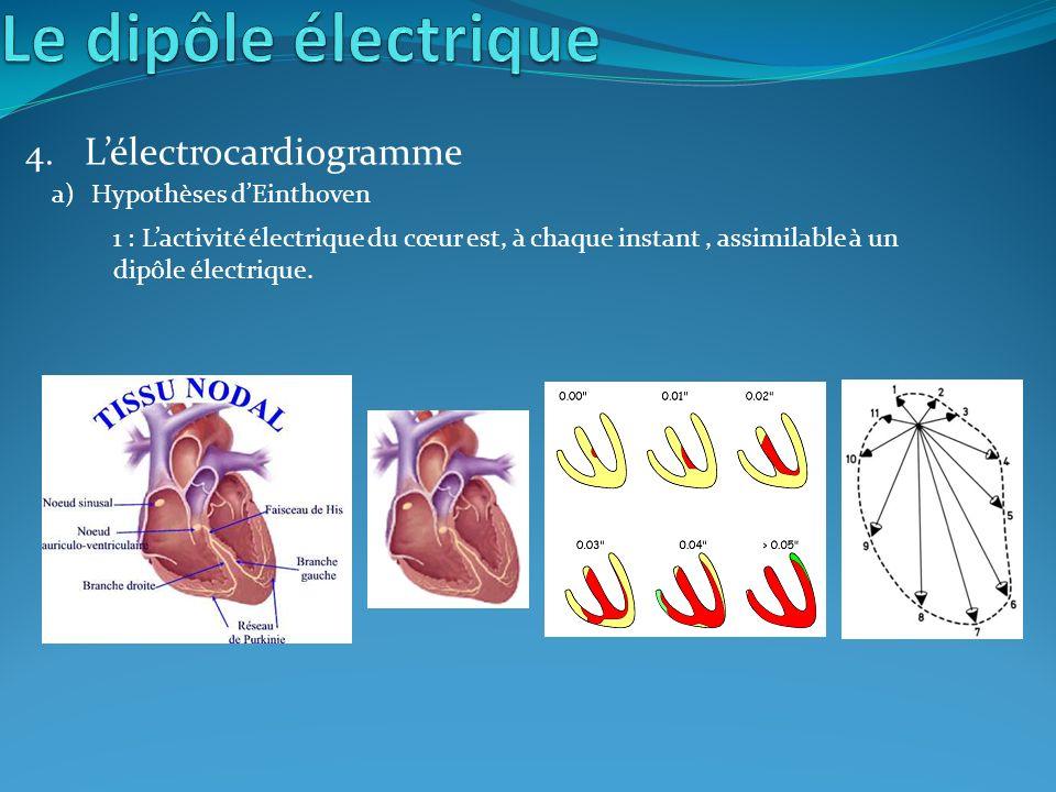 4. Lélectrocardiogramme a)Hypothèses dEinthoven 1 : Lactivité électrique du cœur est, à chaque instant, assimilable à un dipôle électrique.