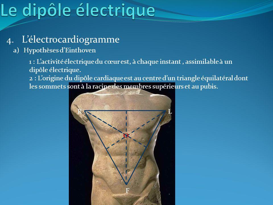 F RL O 4. Lélectrocardiogramme a)Hypothèses dEinthoven 1 : Lactivité électrique du cœur est, à chaque instant, assimilable à un dipôle électrique. 2 :