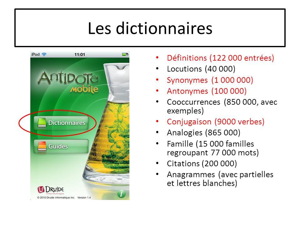 Les dictionnaires Définitions (122 000 entrées) Locutions (40 000) Synonymes (1 000 000) Antonymes (100 000) Cooccurrences (850 000, avec exemples) Co