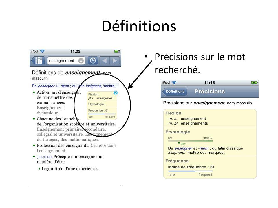 Définitions Précisions sur le mot recherché.