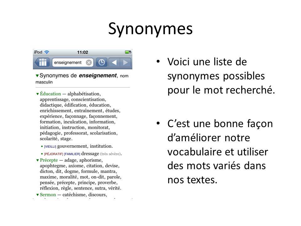 Synonymes Voici une liste de synonymes possibles pour le mot recherché. Cest une bonne façon daméliorer notre vocabulaire et utiliser des mots variés