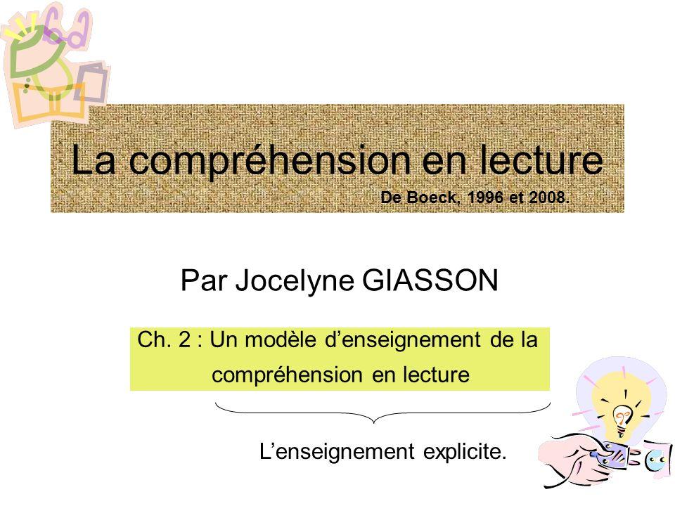 La compréhension en lecture Par Jocelyne GIASSON Ch. 2 : Un modèle denseignement de la compréhension en lecture Lenseignement explicite. De Boeck, 199