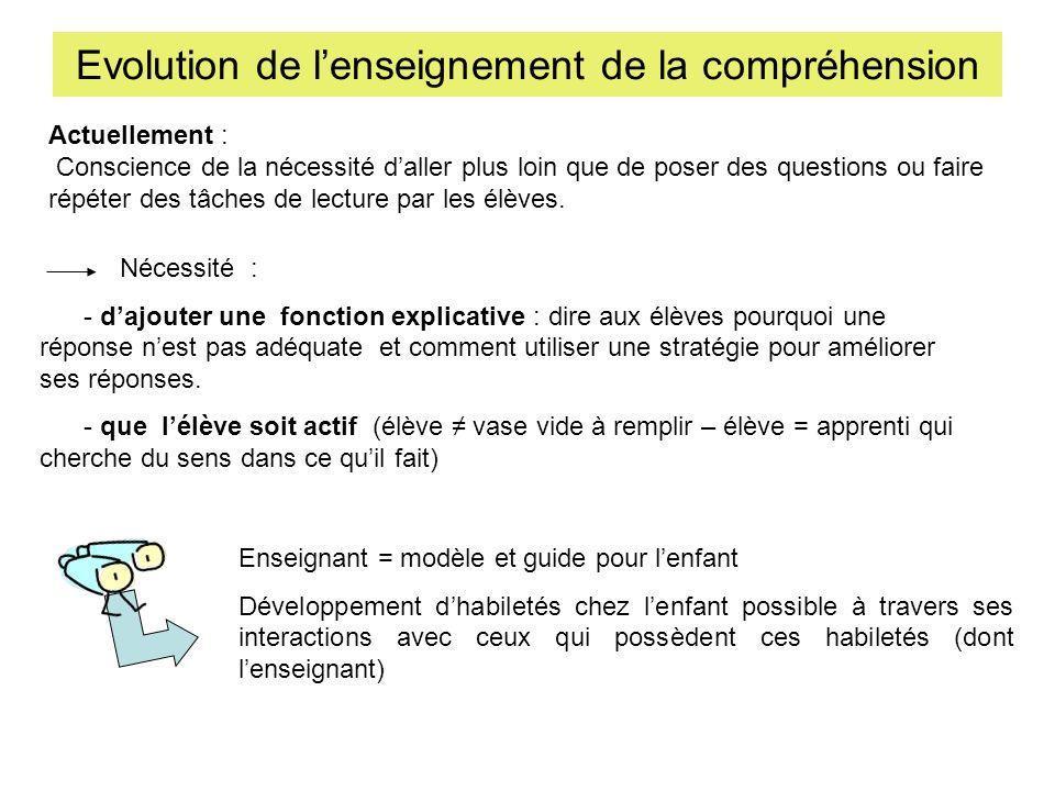 Evolution de lenseignement de la compréhension Nécessité : - dajouter une fonction explicative : dire aux élèves pourquoi une réponse nest pas adéquat